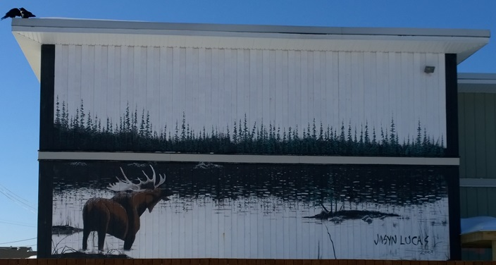 Граффити лось Томпсон Манитоба Канада. Graffiti moose Thompson Manitoba Canada
