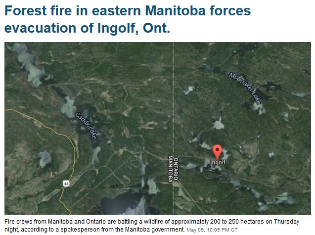 Forest fire in eastern Manitoba forces evacuation of Ingolf, Ont